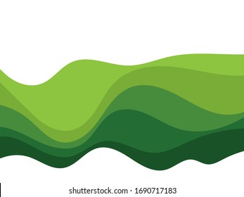 Abstract Green wave vector illustration design background