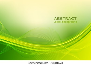 Abstract green waves background.