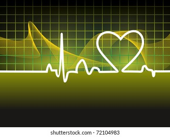 abstract green wavy background with heartbeat, vector illustration
