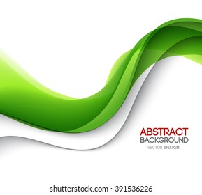 Abstract green wavy lines.  Colorful vector background. Green wave.