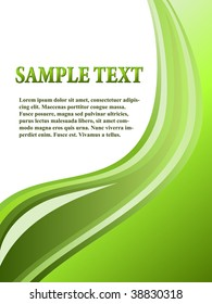 Abstract green wavy stripes background with copyspace.