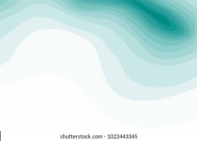 Abstract green and white topographic contours lines of mountains. Topography map art curve line drawing background with copy space. Paper layer vector illustration.
