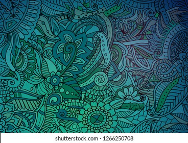 Abstract green zentangle background