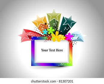 abstract grey background with colorful artwork decorated frame, illustration