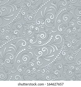Abstract grey swirly background, vector seamless pattern