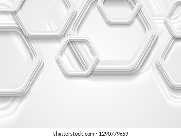 Abstract grey tech background with paper hexagons. Vector design