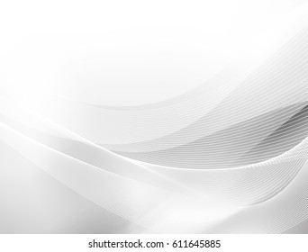 Abstract grey white waves and lines pattern. Vector