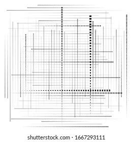rejilla abstracta, malla de trozos de dispersión aleatoria, piezas. ilustración abstracta geométrica. matriz geométrica, patrón de matriz