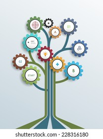 Abstract Growth tree concept with gear wheel and lines, can be used for place your content. Infographic, communication, icon, business, social media, technology, network and web design.