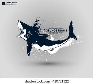 Abstract grunge animal print for t-shirt. Shark modern street style attributes. Vector art. Shark head for poster. HIPSTER print for t-shirt.