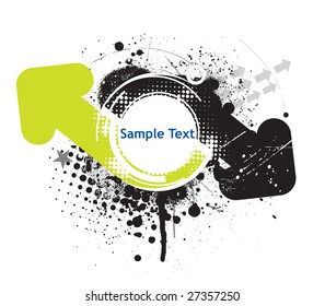 Abstract grunge arrow wave halftone line background with sample text