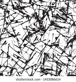 Abstract grunge background black and white. Seamless texture of scratches, chips, cracks. The dark pattern of the old surface
