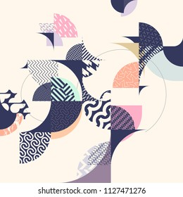 Abstract grunge background. Composition of decorative circles and rings.
