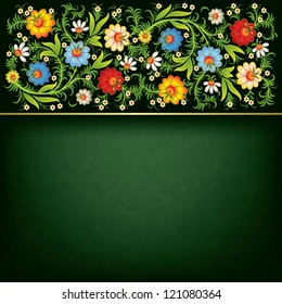 abstract grunge background with floral ornament on black