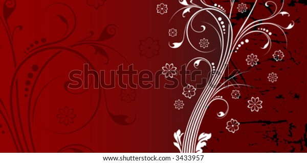 Abstract grunge background with floral scrolls on red