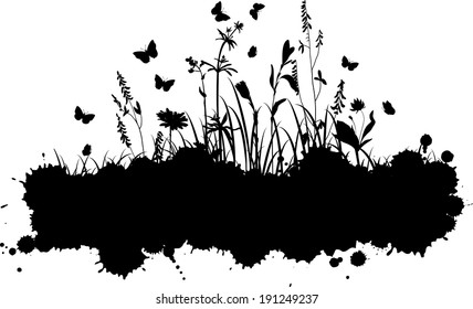 abstract grunge background with spots and silhouettes  of flowers and grass, vector illustration