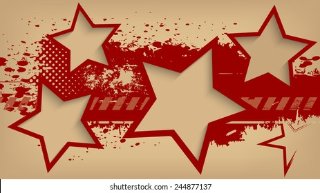 Abstract grunge background with stars. Vector illustration.