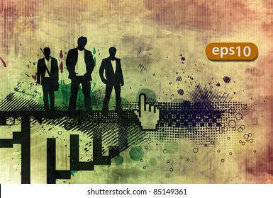 abstract grunge banner with business vector web template.