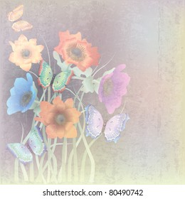 abstract grunge beige background with butterflies and flowers