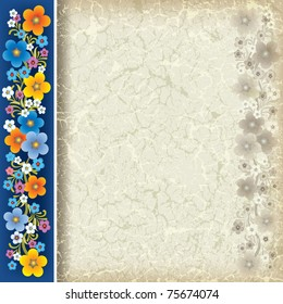 abstract grunge beige background with flowers on blue