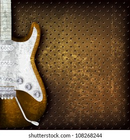 abstract grunge brown background with electric guitar