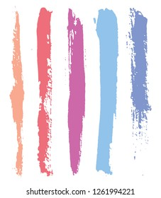 Abstract grunge brushes.Colorful brush strokes set.