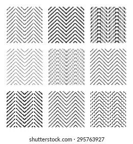 Abstract grunge chevron seamless patterns set, design elements. Can be used for invitations, greeting cards, scrapbooking, print, gift wrap, manufacturing. Minimalistic background