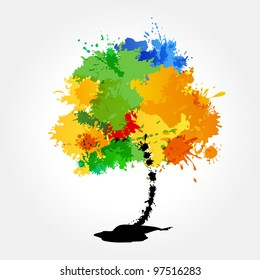 Abstract grunge colorful tree on white background.