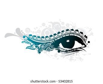abstract grunge design of beautiful human eye, vector illustration