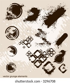 abstract grunge elements, eroded retro circles & cubes ,ink blots,usefull  in design,vector