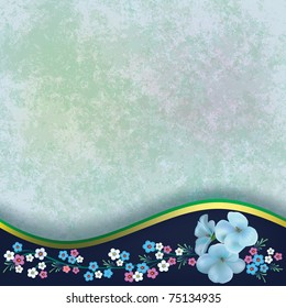 abstract grunge green background with flowers on black