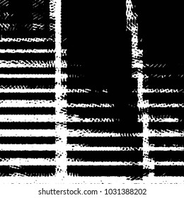 Abstract grunge grid stripe halftone background pattern. Black and white line vector illustration