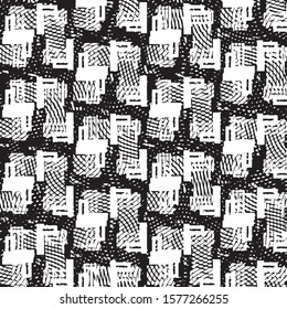 Abstract grunge grid stripe halftone background pattern. Spotted black and white line vector illustration