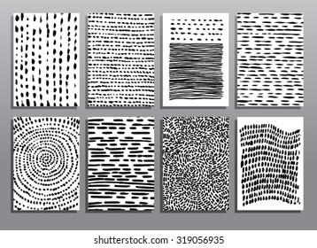 Abstract grunge hand drawing textures. Vector illustration set.
