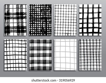 Abstract grunge pattern checkered textures. Vector illustration set.