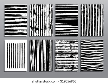 Abstract grunge patterns. Striped textures. Vector illustration set.