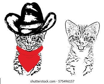 Abstract grunge portrait of a cat in a cowboy hat on white background.