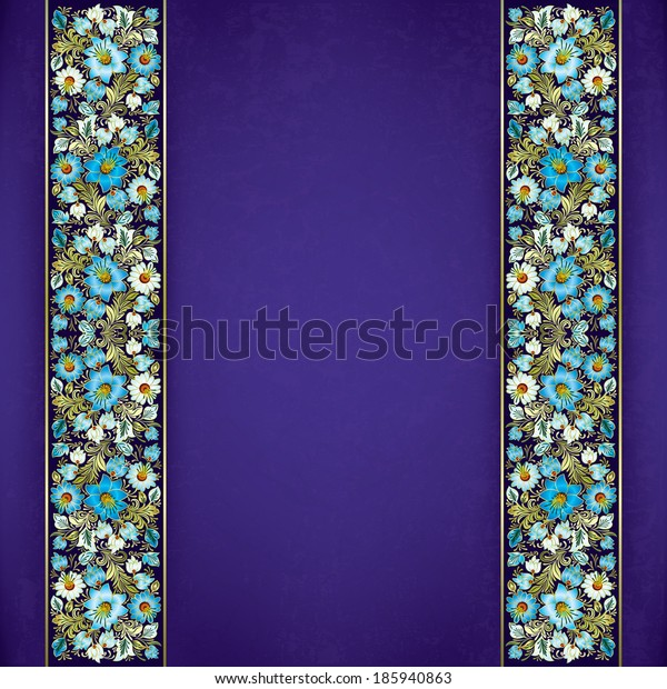 abstract grunge purple background with spring floral ornament