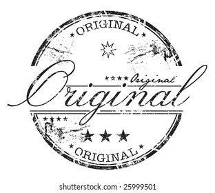Abstract grunge rubber office stamp with small stars and the word original written inside the stamp