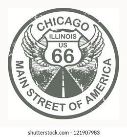 Abstract grunge rubber stamp with the text Route 66, Chicago, vector illustration