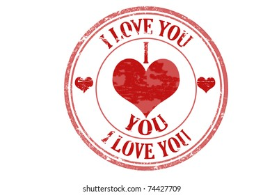 Abstract grunge rubber stamp with the text I love you written inside the stamp, vector illustration