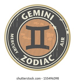 Abstract grunge rubber stamp with the Zodiac Gemini symbol horoscope, vector illustration