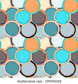 Abstract grunge seamless pattern with circles. Geometric distressed background. Constructivism art. Paint stains. Graffiti. Endless print silhouette texture. Fabric design. Wallpaper - vector