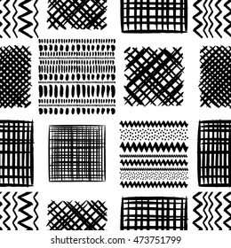 Abstract grunge squares vector seamless pattern. Tribal texture