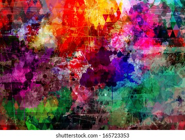 Abstract grunge style watercolor background with distressed effect
