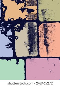 Abstract grunge vector background.  Colorful composition of irregular grainy geometric elements. Created using handmade camera-less black and white photographic print.