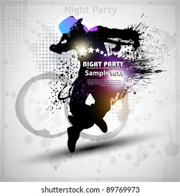 Abstract grunge vector background. Street dancer