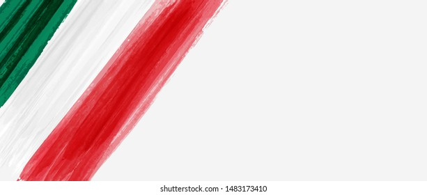 Abstract grunge watercolor painted flag of Mexico. Template for national holiday background. Horizontal banner holiday template. Viva Mexico!