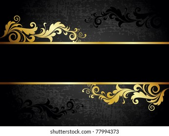 abstract grungy creative golden floral decorated frame