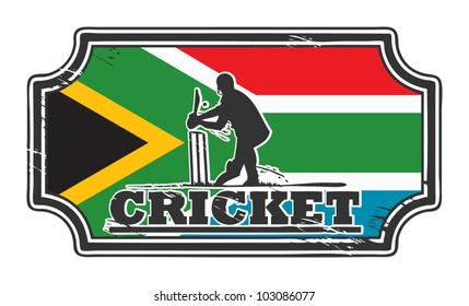 Abstract grungy cricket stamp with South Africa flag, vector illustration